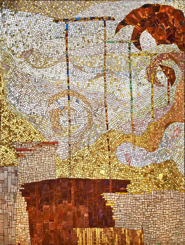 PALMIRA, 2017, tecnica musiva su pga, ori, smalti e rame, cm 160x120 (collezione privata)