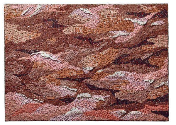 VOLO SUI CALANCHI, 2006, tecnica musiva su legno, smalti e marmi, cm. 200x72