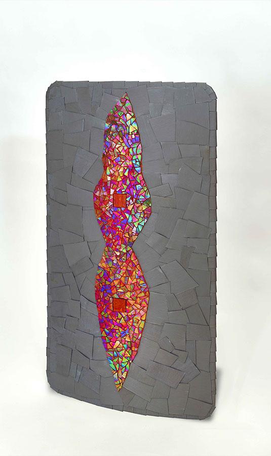 SCUTUM, 2019, tecnica musiva su resina, zinco-titanio e vetri, cm 93x50